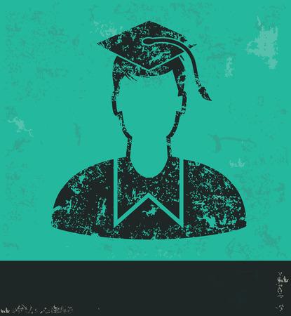 alumnus: Student design on green background,grunge vector Illustration