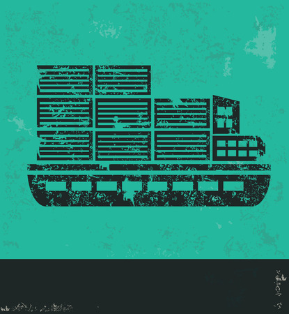 enormous: Shipping boat design on green background,grunge vector Illustration