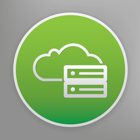 computing: Cloud computing symbol on green background, clean vector