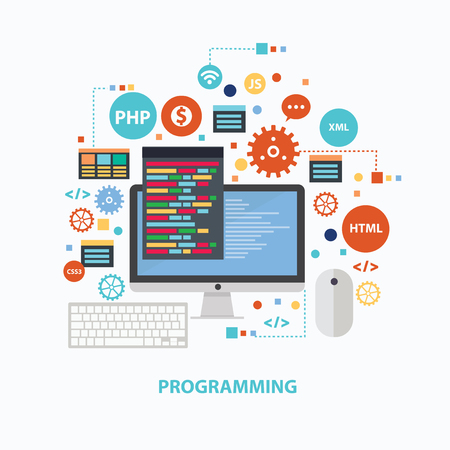 Programming concept design on white background,clean vector