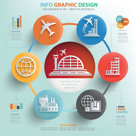 airport terminal: Cargo,shipping and transport info graphic design, Business concept design.