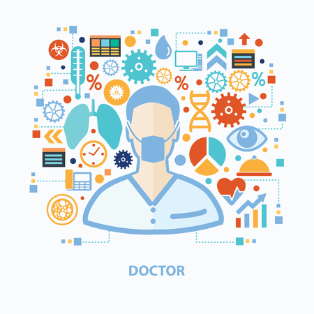 Doctor and healthy care concept design on white background,clean vector