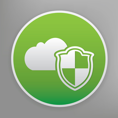 green button: Cloud security design icon on green button,clean vector Illustration