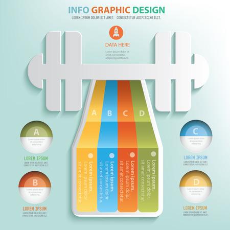 cross bar: Fitness info graphic design, Business concept design. Illustration