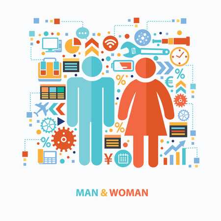 compliant: Man and woman concept design on white background Illustration