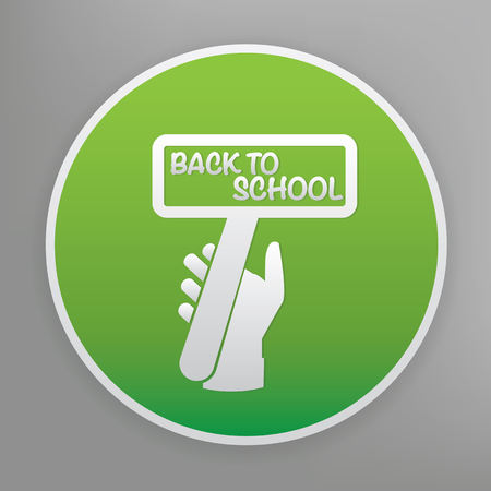 round back: Back to school design icon on green button Illustration
