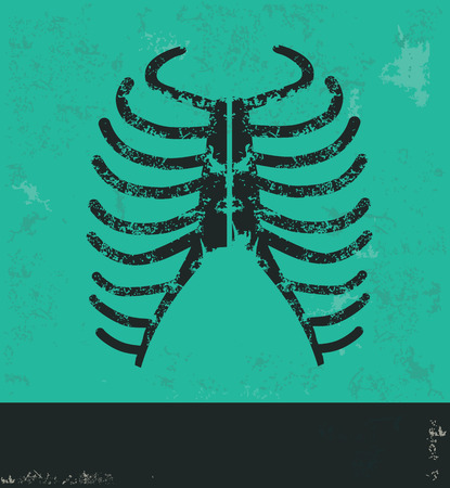 rib cage: Rib design on green background Illustration