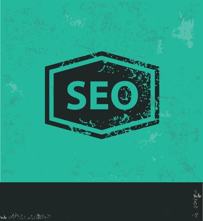 optimizing: SEO design on green background