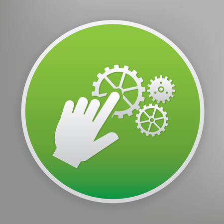 click with hand: Click design icon on green button