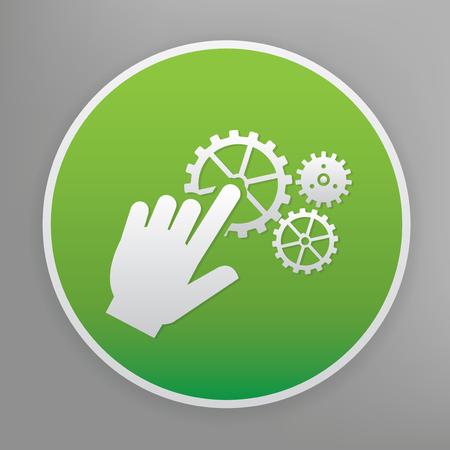 klik: Klik ontwerp pictogram op groene knop