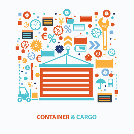 loading dock: Container and cargo concept design on white background
