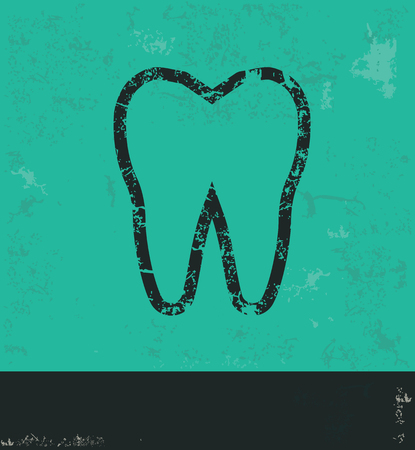 carious cavity: Teeth design on green background