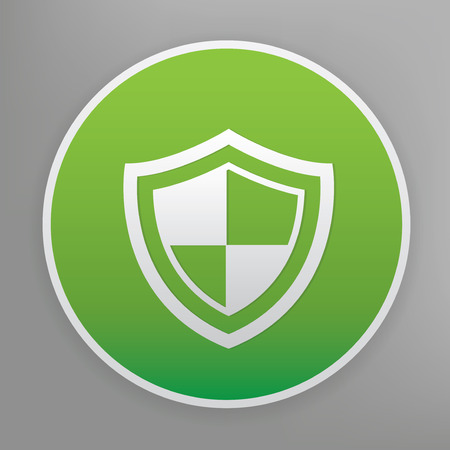 green button: Badge security design icon on green button Illustration