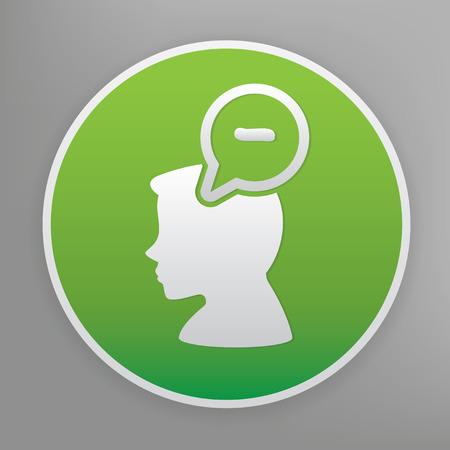 negative thinking: Negative thinking design icon on green button Illustration