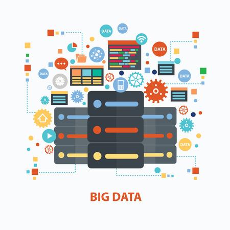meseros: Concepto de diseño de datos grande en el fondo blanco, vector limpia