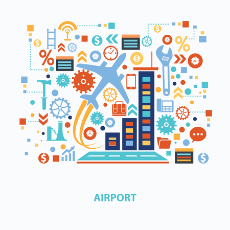 air travel: Airport concept design on white background,clean vector Illustration