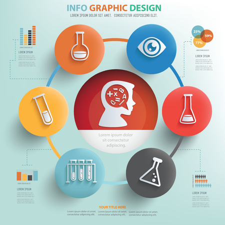 information science: Learning and education concept info graphic design Illustration