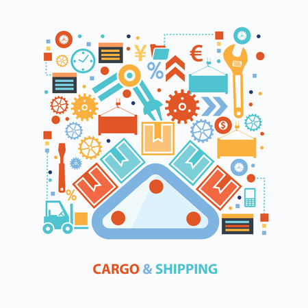 Cargo and shipping concept design on white background,clean vector