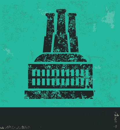 distillery: Industry design on green background,grunge vector