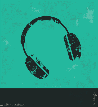 ear bud: Earphone design on green background,grunge vector