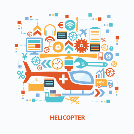 transpozycji: Helicopter concept design on white background,clean vector