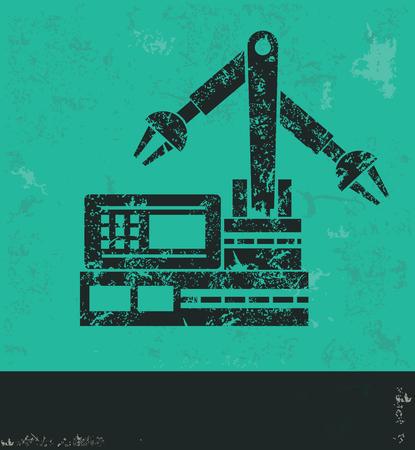 habiliment: Robot resource design on green background,grunge vector