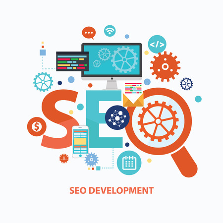 SEO development concept design on white background,clean vector Ilustracja