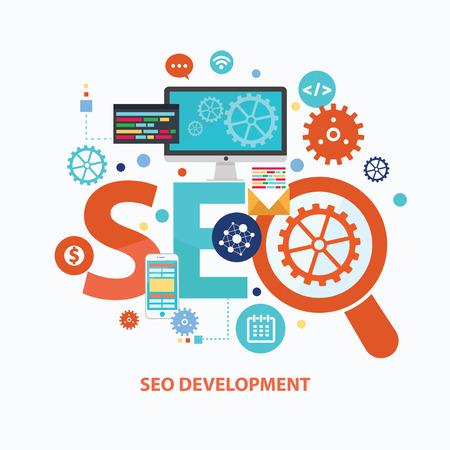 SEO development concept design on white background,clean vector Stock Illustratie