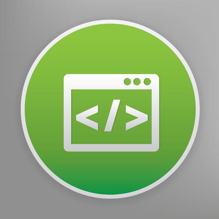 java script: Coding design icon on green button, clean vector