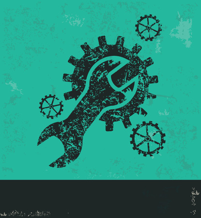rework: Repair design on green background,grunge vector Illustration