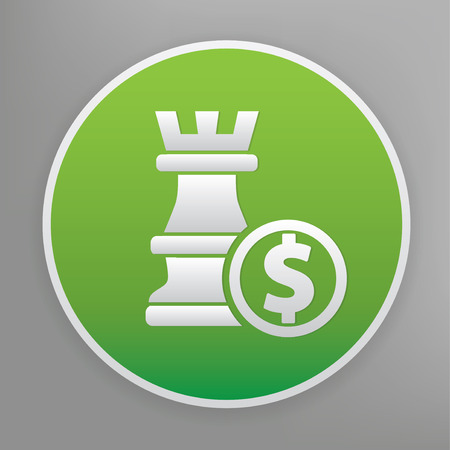 overthrow: Chess design icon on green button, clean vector