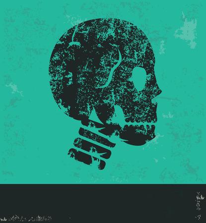 vector skull danger sign: Skull design on green background,grunge vector