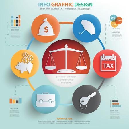 justicia: Justicia y finanzas concepto de información de diseño gráfico, diseño de concepto de negocios. Vectores