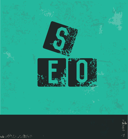 optimizing: SEO concept design on green background,grunge vector