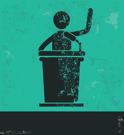 spokesperson: Businessman design on green background,grunge vector