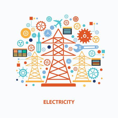 electricidad: Diseño de concepto de electricidad en el fondo blanco