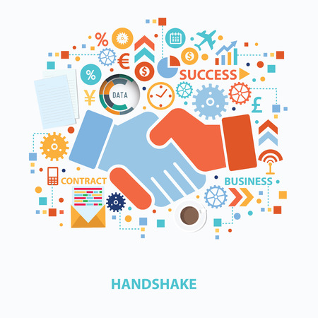 respetar: Diseño de concepto del apretón de manos en el fondo blanco, vector limpia