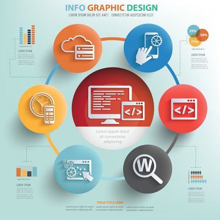 testing: Programming and technology info graphic design, Business concept design.
