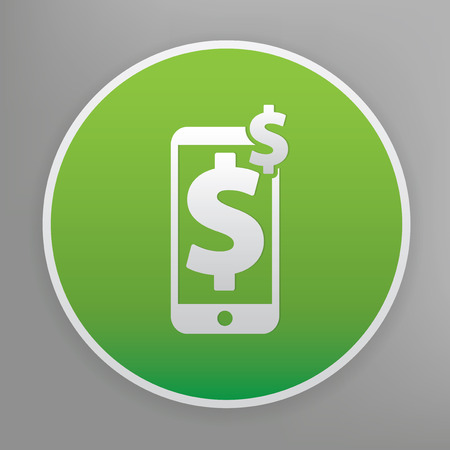 Spend on mobile design icon on green button, clean vector Illustration