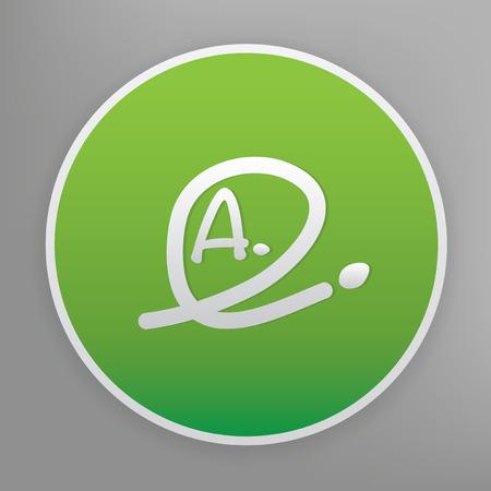 grade: Grade a design icon on green button