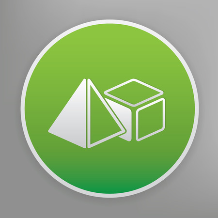 solids: Geometry design icon on green button