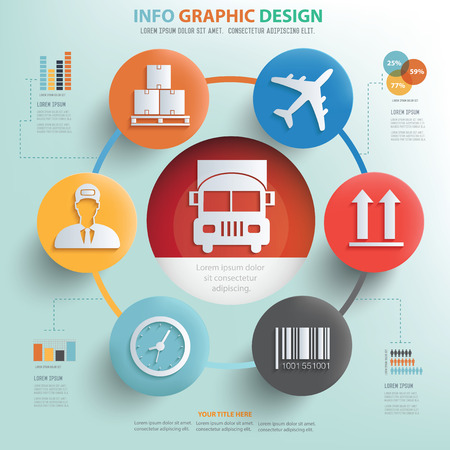 Cargo and logistic concept info graphic design 免版税图像 - 44053912