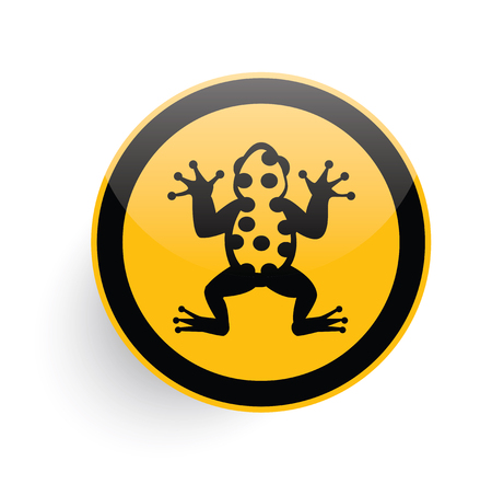 Frog icon design on yellow button background,clean vector Illustration