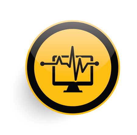 criterion: Computer analysis icon design on yellow button background,clean vector Illustration