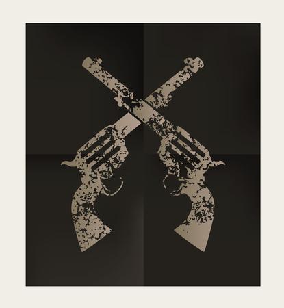 black powder pistol: Gun design on black background,vector Illustration
