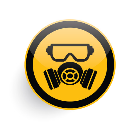 gas mask warning sign: Mask industry icon on yellow button background,clean vector