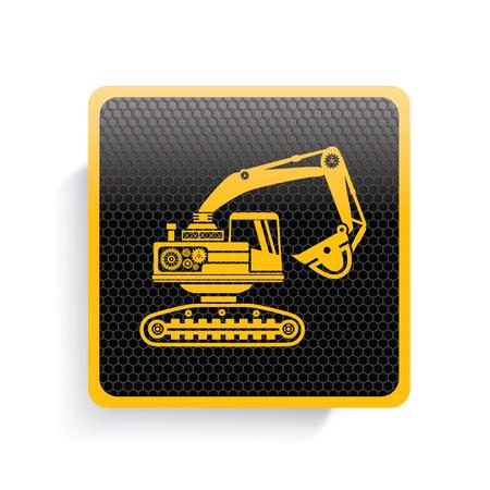 dredger: Truck icon design,yellow version,clean vector