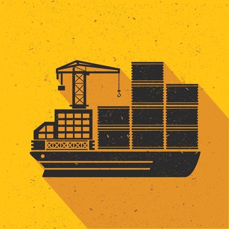 shipbuilder: Cargo,shipping,transport flat design,yellow version,vector Illustration