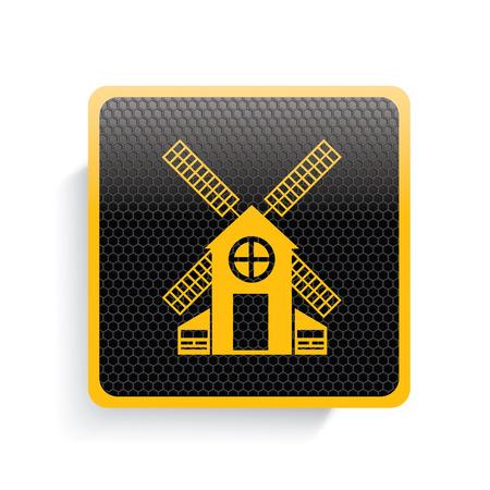 windfarm: Wind turbine icon design,yellow version,clean vector Illustration