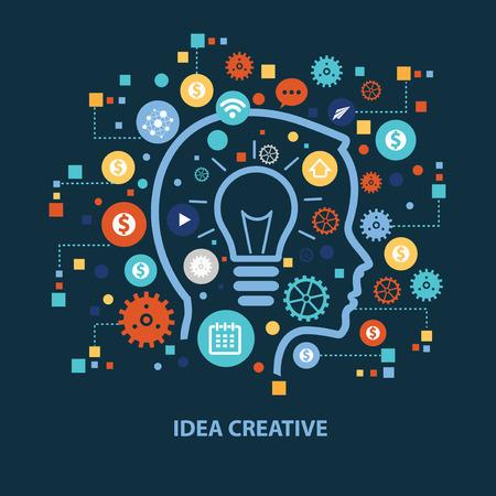 mente humana: Idea creative concept design on dark background,clean vector